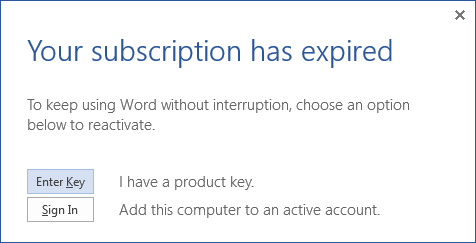 enter office 365 or office 2016 product key
