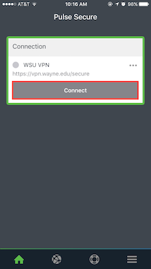 How do I access the WSU Virtual Private Network (VPN) on iOS